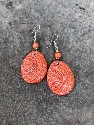 Champa Handmade Ceramic Earrings in Mandarin