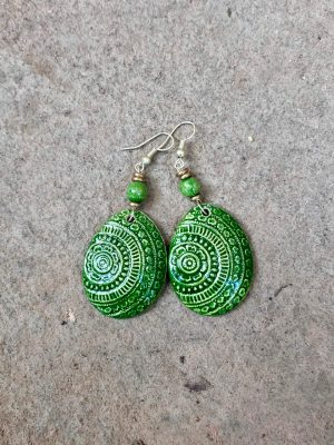 Champa Handmade Ceramic Earrings in Forest Green