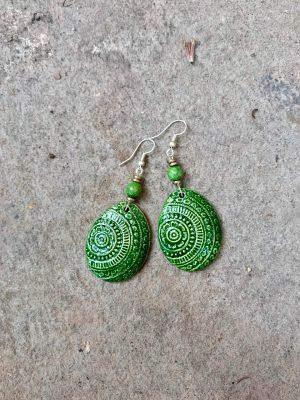 Champa Handmade Ceramic Earrings in Forest Green