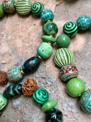Rudraksha Ceramic Bead Bracelet Monsoon Green