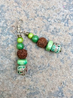 Rudraksha Ceramic Earrings in Green