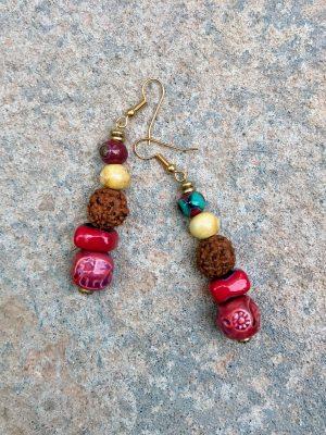 Rudraksha Handmade Ceramic Earrings Rose