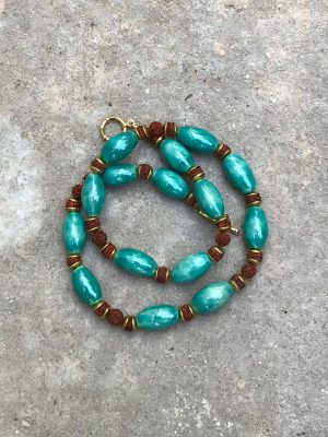 Eva Ceramic Bead Necklace in Fengshui Green