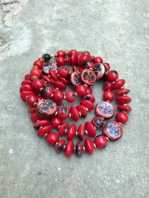 Khmer Face Bead Ceramic Necklace in Ablaze Red