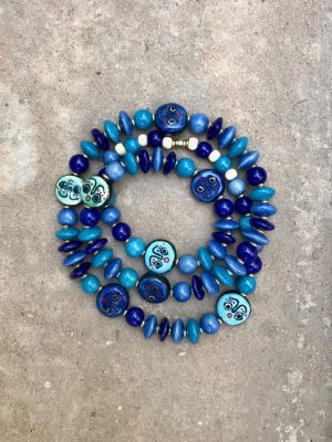 Khmer Face Bead Ceramic Necklace The Blues