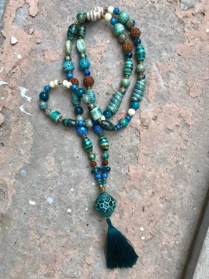 Lantern Handmade Ceramic Bead Necklace in Jade