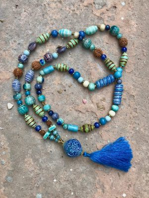 Lantern Handmade Ceramic Bead Necklace The Blues