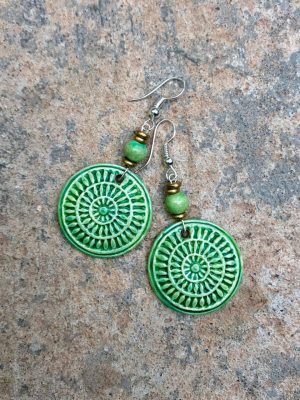Mandala Ceramic Bead Earrings – Greens