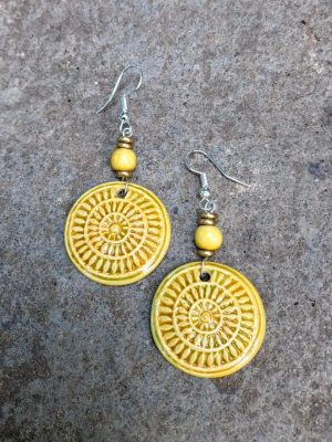 Mandala Ceramic Earrings in Turmeric