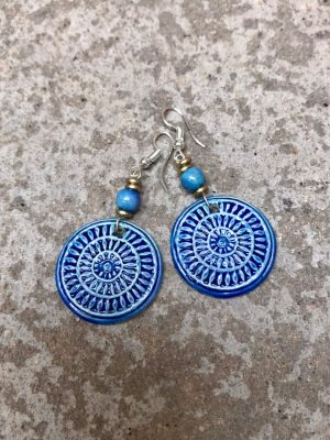 Mandala Ceramic Earrings – Blues