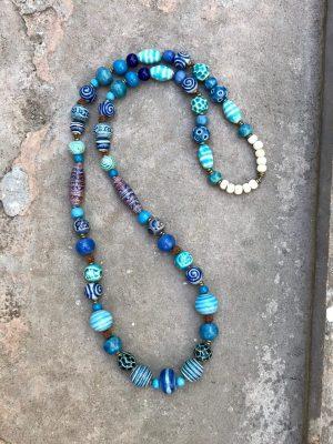 Sedona Ceramic Bead Necklace The Blues