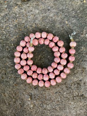 Spiral Handmade Ceramic Bead Necklace in Fairy Floss Pink