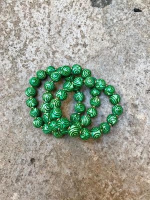 Spiral Handmade Ceramic Bead Bracelet in Green