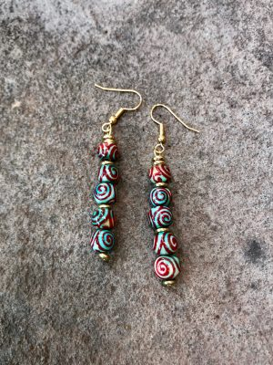 Spiral Handmade Ceramic Bead Earrings in Red & Blue