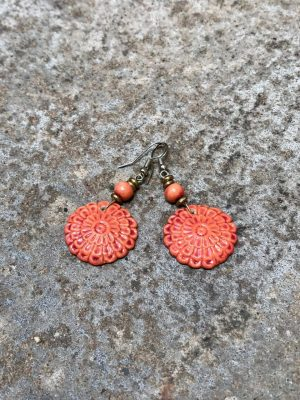 Flora Handmade Ceramic Bead Earrings in Mandarin