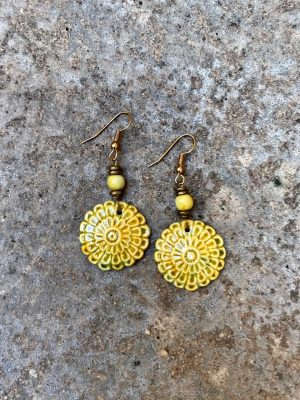 Flora Handmade Ceramic Earrings in Turmeric