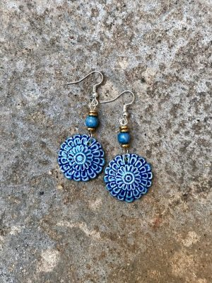 Flora Handmade Ceramic Bead Earrings in Two Shades of Blue