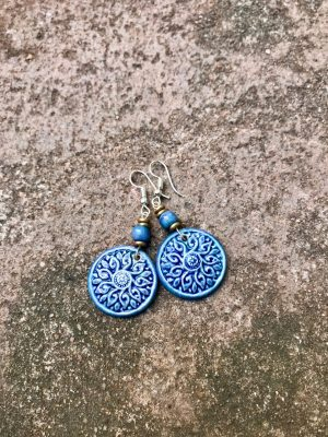 Shield Maiden Ceramic Earrings: Blues