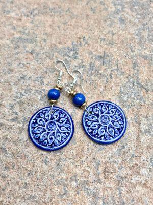 Shield Maiden Ceramic Earrings: Blues