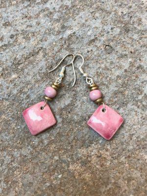 Square Ceramic Bead Dangle Earrings