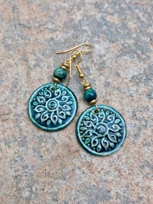 Shield Maiden Handmade Ceramic Earrings – Greens