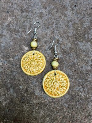 Shield Maiden Ceramic Earrings – Turmeric Yellow