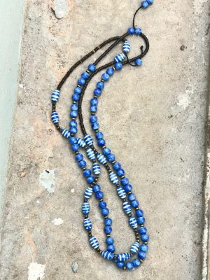 Somtana Handmade Ceramic Bead Necklace – Deep Indigo Blue