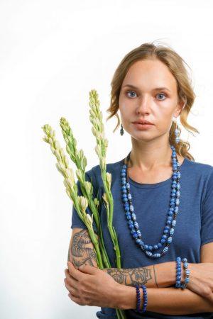 Somtana Handmade Ceramic Bead Necklace – Deep Indigo Blue