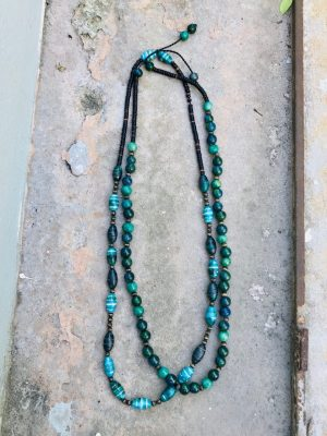 Somtana Handmade Ceramic Bead Necklace – Tahitian Green