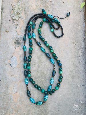 Somtana Handmade Ceramic Bead Necklace – Tahitian Green