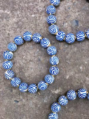 Spiral Handmade Ceramic Bead Bracelet in Blue & White
