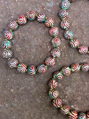 Spiral Handmade Ceramic Bead Bracelet – Egyptian Blue