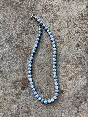 Spiral Handmade Ceramic Bead Necklace – Blue & White
