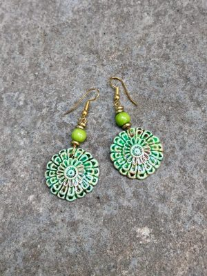 Flora Handmade Ceramic Bead Earrings in Autumn Green