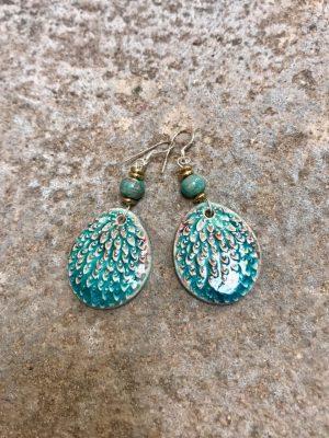 Peacock Handmade Ceramic Bead Earrings – Blues Ablaze