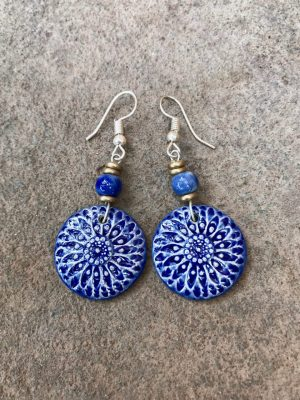 Sunburst Handmade Ceramic Bead Earrings in Blues