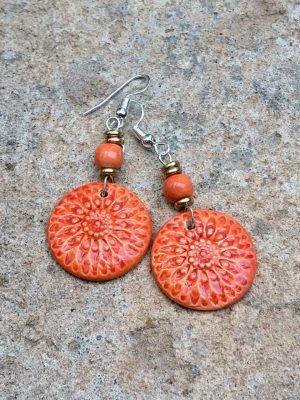 Sunburst Handmade Ceramic Bead Earrings in Mandarin