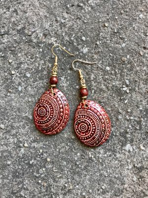 Champa Handmade Ceramic Earrings in Bronze Blush