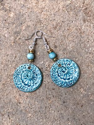 Handmade Ceramic Bead Earrings Sea Spiral in a Celadon Blue