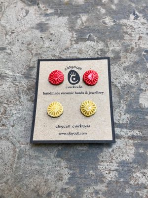 Handmade Ceramic Bead Stud Earrings in Turmeric & Watermelon