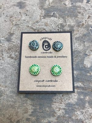 Handmade Ceramic Bead Daisy Stud Earrings in Two Shades of Green