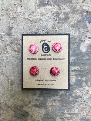 Handmade Ceramic Bead Daisy Stud Earrings in Two Shades of Rose
