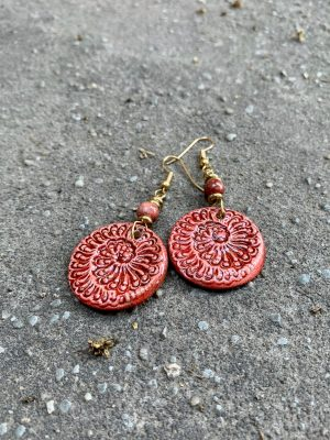 Handmade Ceramic Bead Earrings Sea Spiral in Lady Bronze