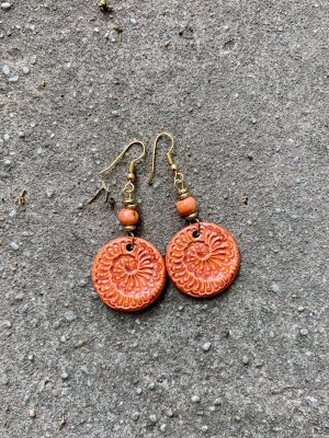 Handmade Ceramic Bead Earrings – Sea Spiral – in Mandarin