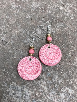 Sea Spiral -Handmade Ceramic Bead Earrings in Pink
