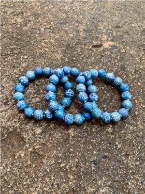 Domrai Handmade Ceramic Bead Bracelet in Indigo Blue