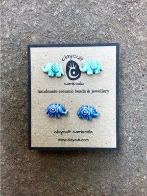 Handmade Ceramic Elephant Stud Earrings in Turquoise & Indigo