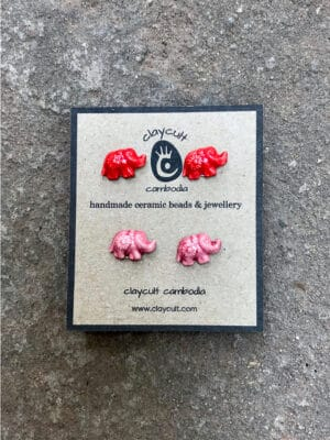 Handmade Ceramic Elephant Stud Earrings in Watermelon & Candy Pink