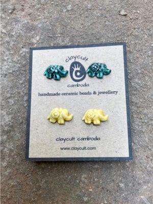 Handmade Ceramic Elephant Stud Earrings in Tahitian Green & Turmeric