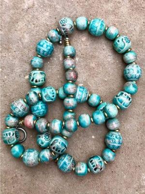 Domrai Handmade Ceramic Bead Necklace in Turquoise Ablaze